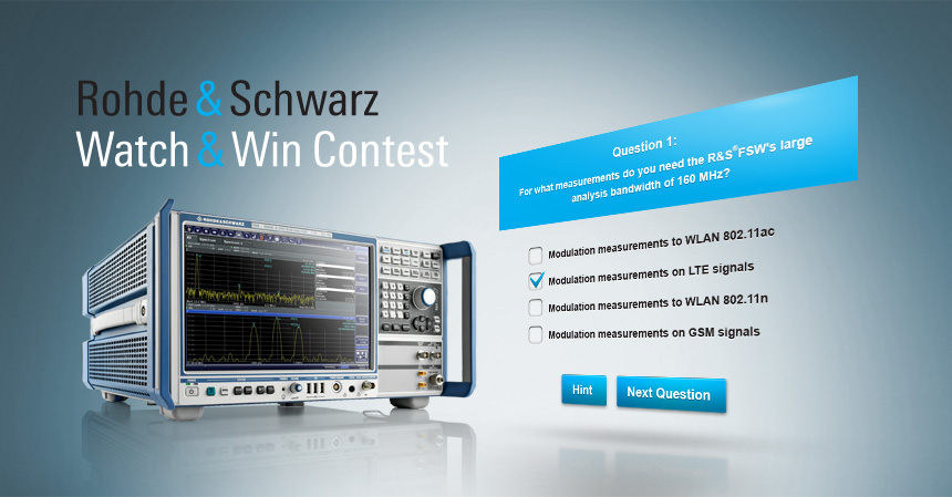 "HTML infotainment site ""Rohde & Schwarz FSW® Watch & Win Contest"""